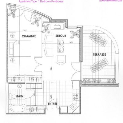 One Bedroom Penthouse Apartment
